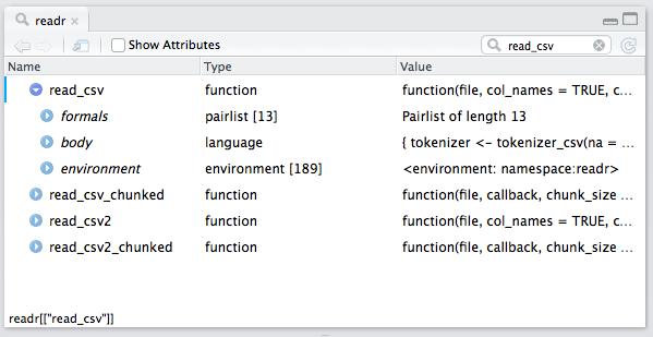 Object Explorer readr Namespace Filtered