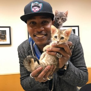 Moshow showing kittens some love
