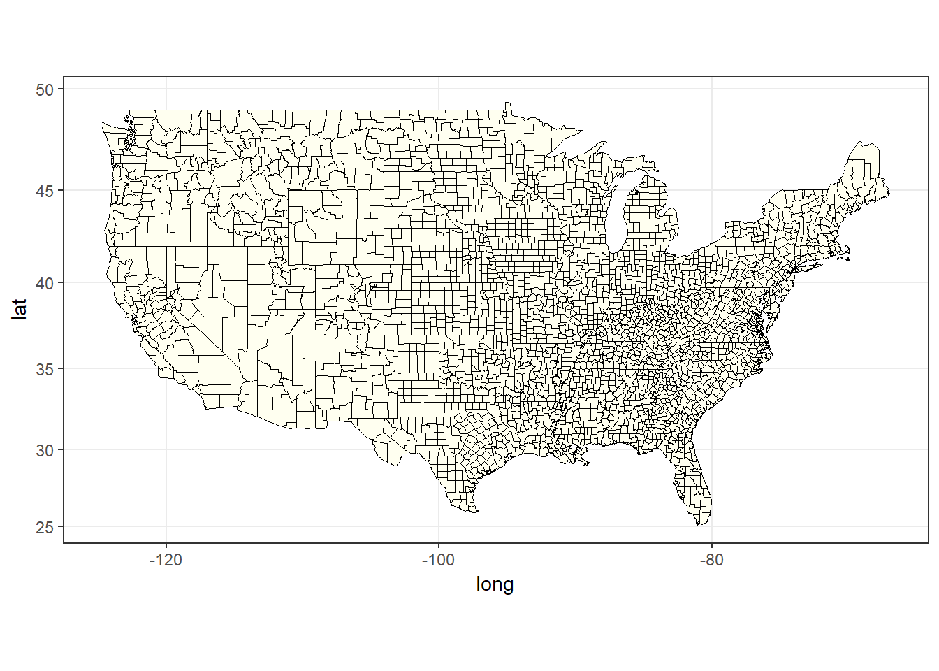 The plain county map of USA