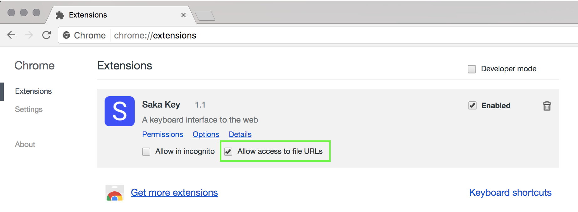Saka Key on Chrome Extensions Page