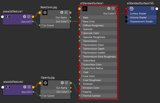 glTF AiStandardSurface hypershade base color and alpha maps split