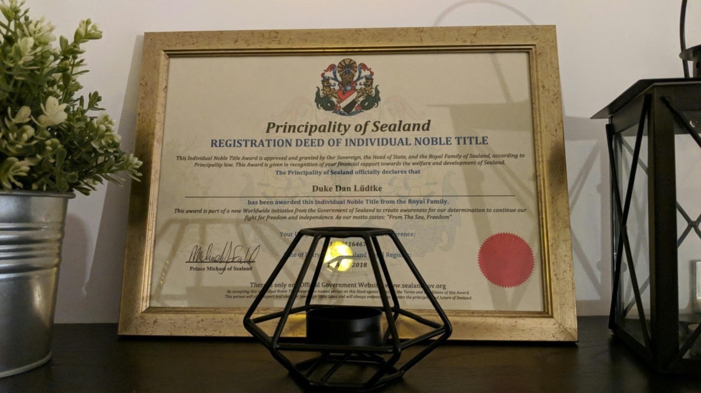 duke of sealand certificate