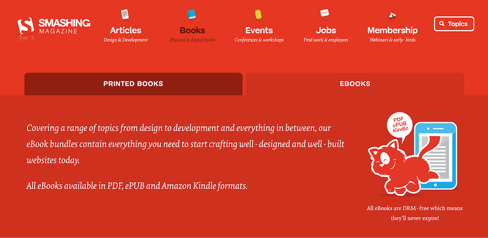 Screenshot of the header on the new Printed Books page.