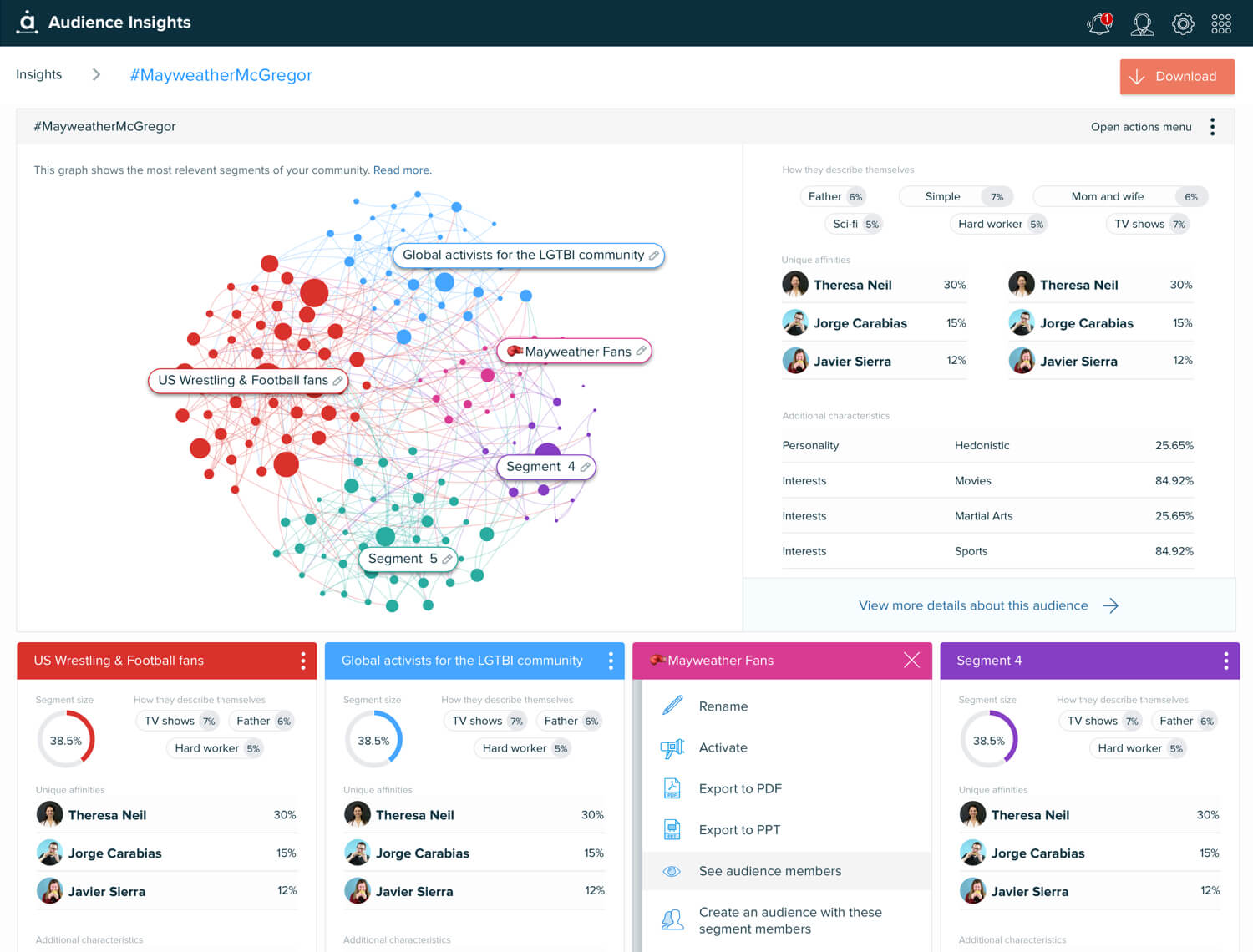Audiense Insights resume view