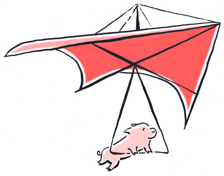 Pig flying in a glider.