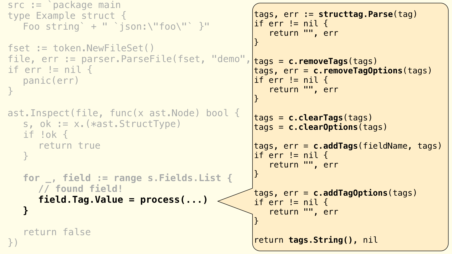 The **structtag** package is used to modify each individual field