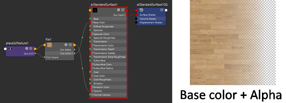 glTF AiStandardSurface hypershade and base color and alpha maps already merged