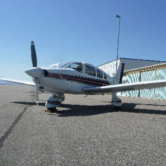 picture of club airplane outside of hangar