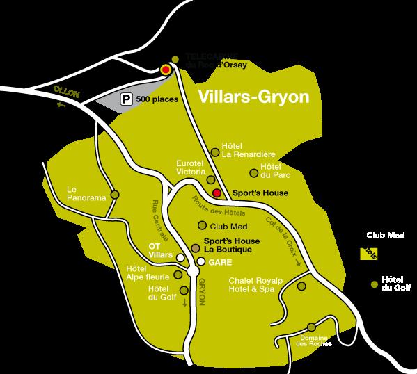 plan d'accès à la consigne à Villars