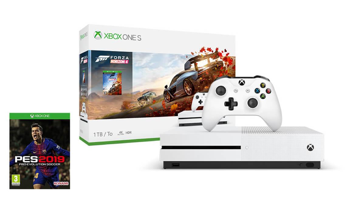 Xbox One S 1TB<br/>Forza Horizon 4 + PES2019 + Halo 5 + GeoW 4 Paketi