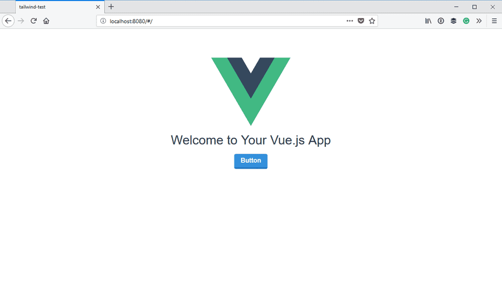 A Tailwind styled button in the Vue application