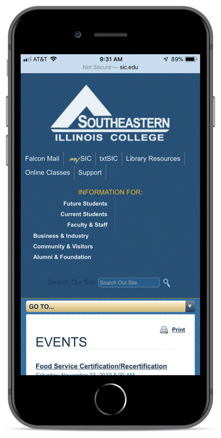 SIC's homepage as viewed on an iPhone 8