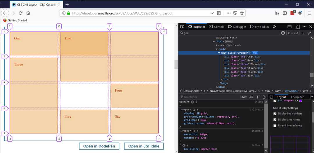 Line numbers and area names in grid view