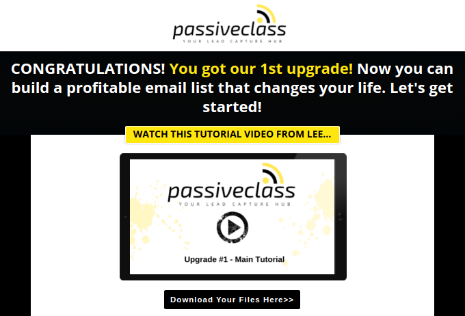 PassiveClass - OTO 1 - Full Lead Capture System