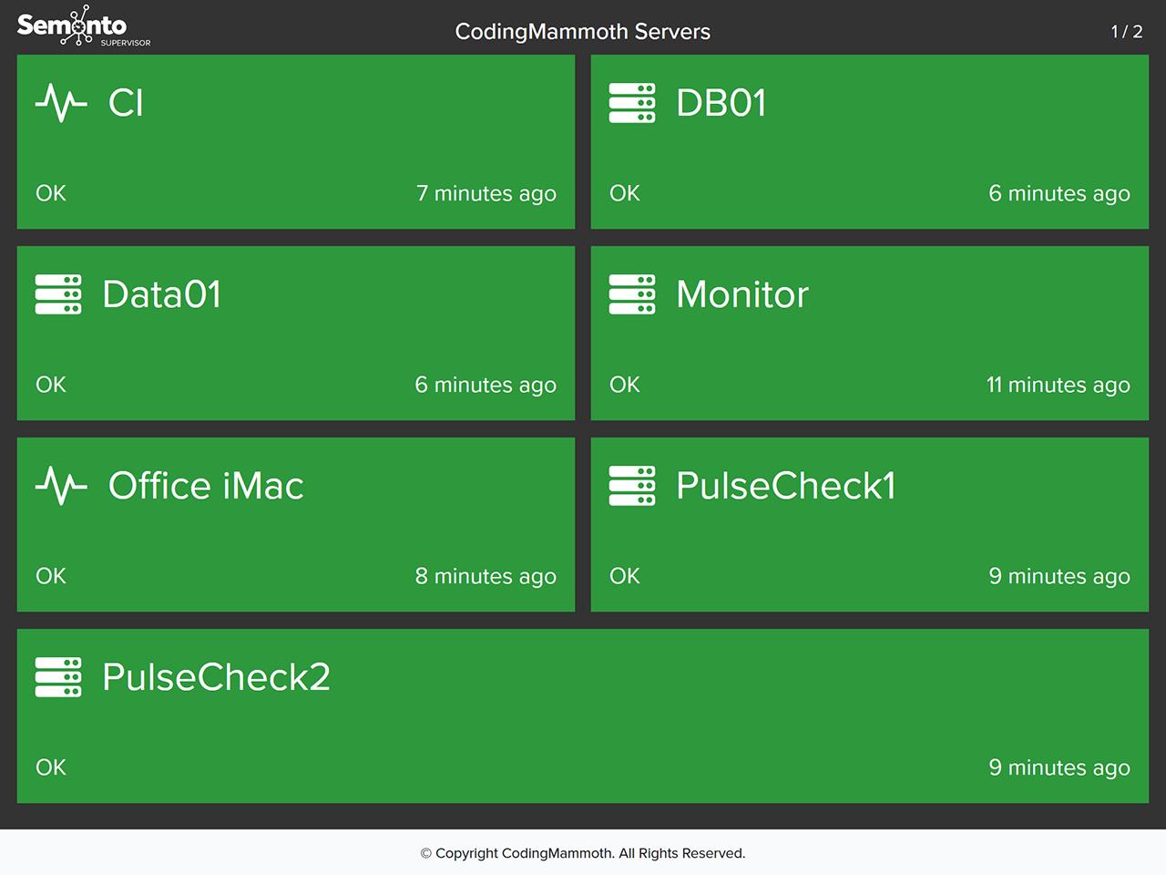 status page display mode screenshot