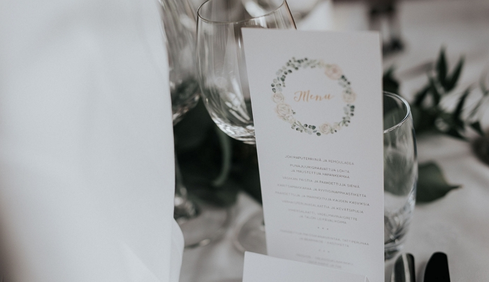 White rose & eucalyptus menu design. Photo by Arto Markkanen. item thumbnail