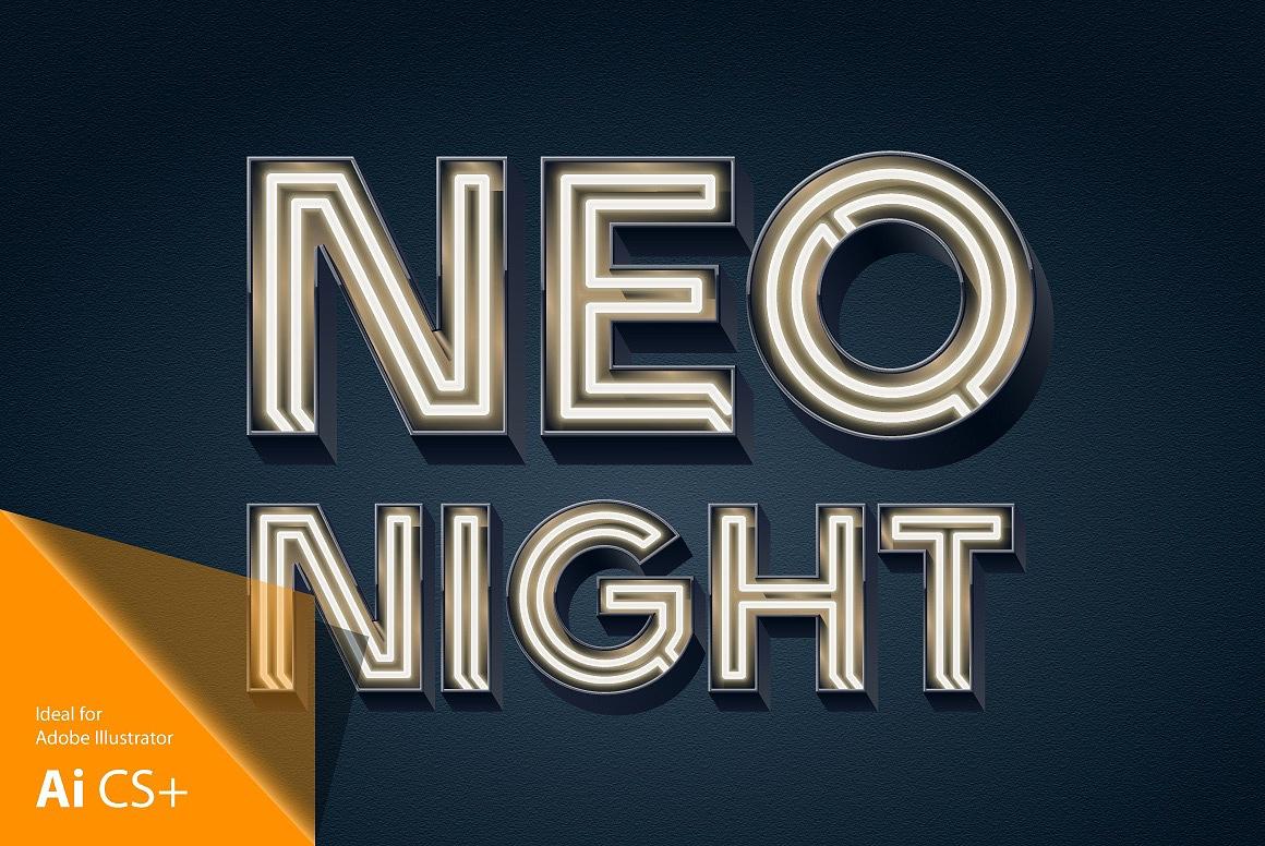 Realistic Neon Tubes Alphabet images/3D_lamp_bold_tubes_black_1.jpg