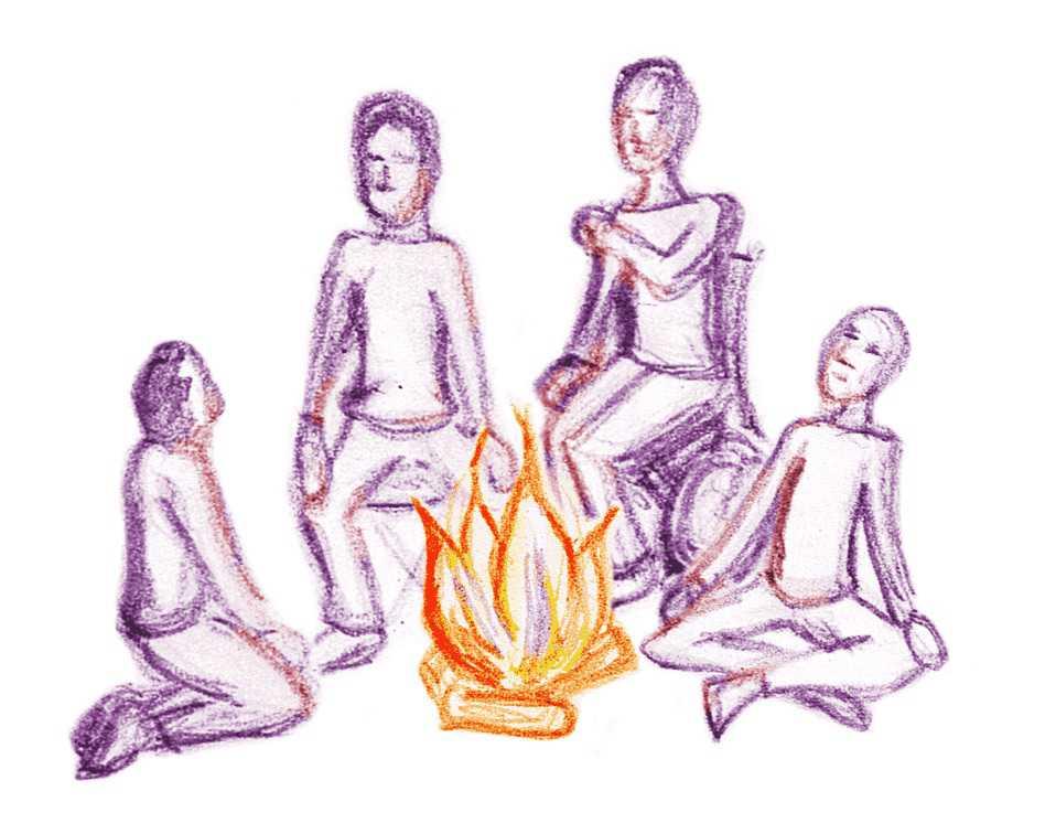 Coverbild des Artikels mit einer gezeichneten Gruppe um ein Lagerfeuer