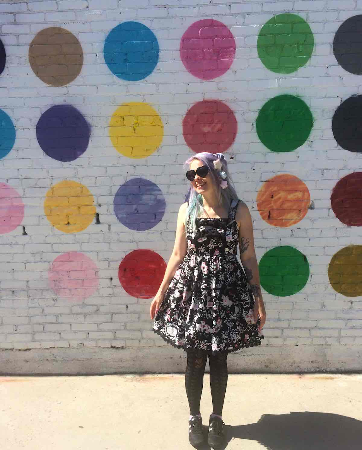 Polka dot wall in downtown LA