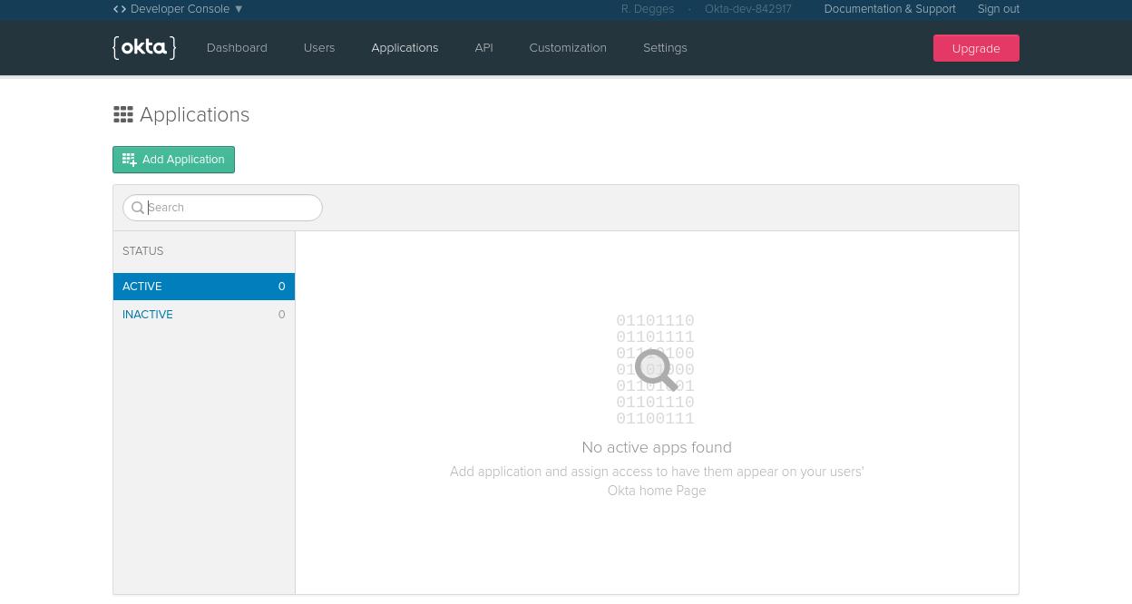 Okta application page