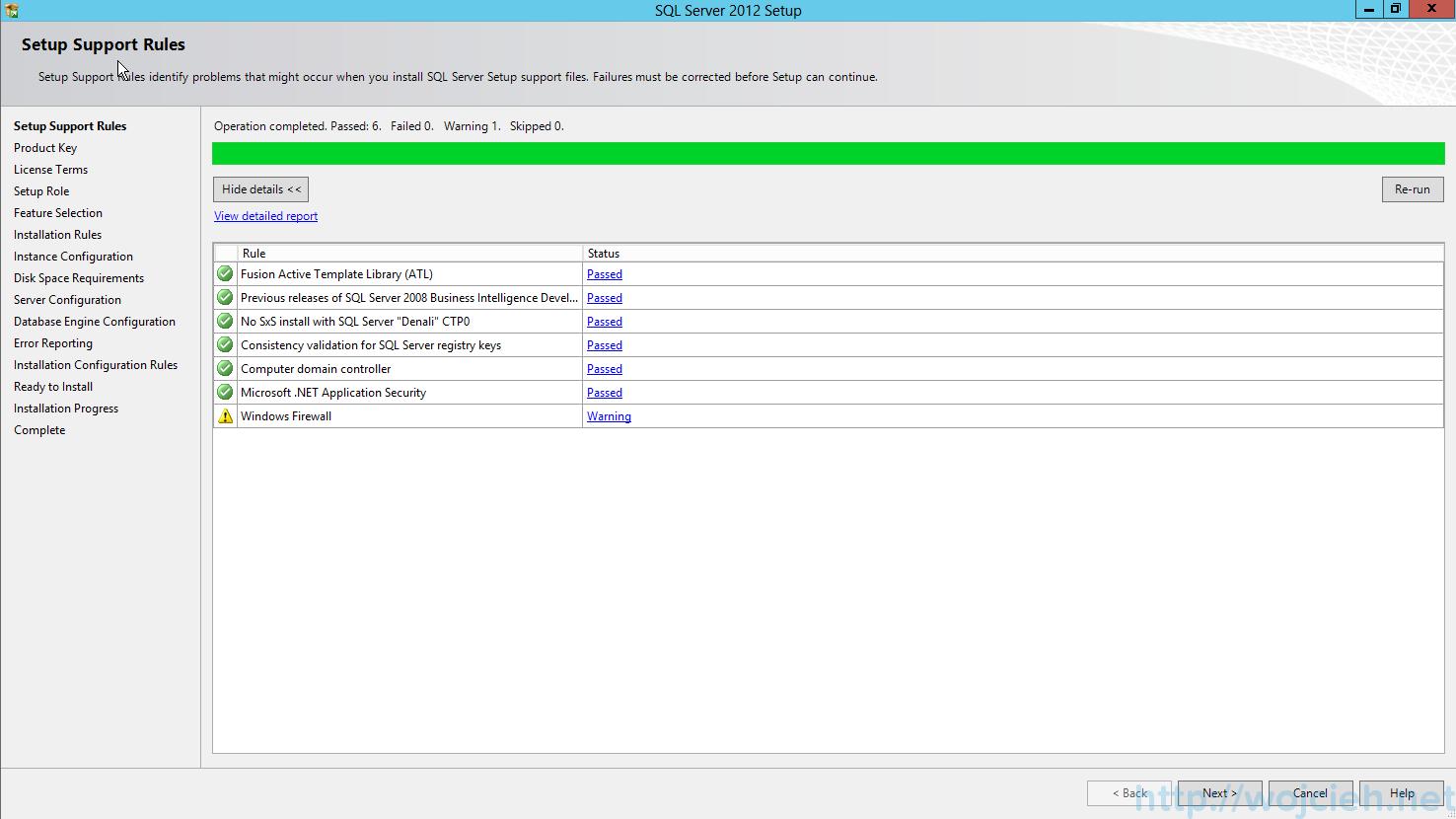 SQL Server 2012 SP1 - Setup Support Rules