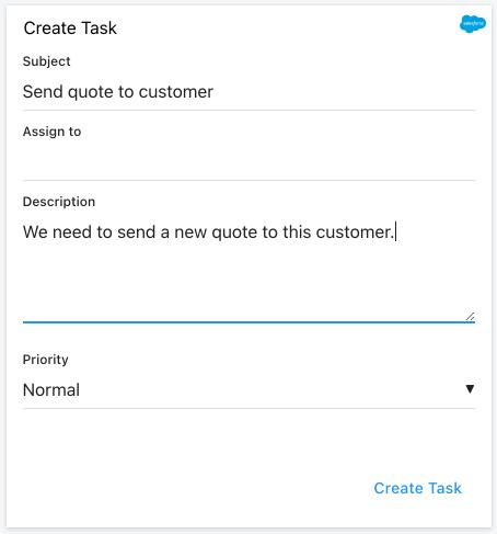 New Salesforce task Card