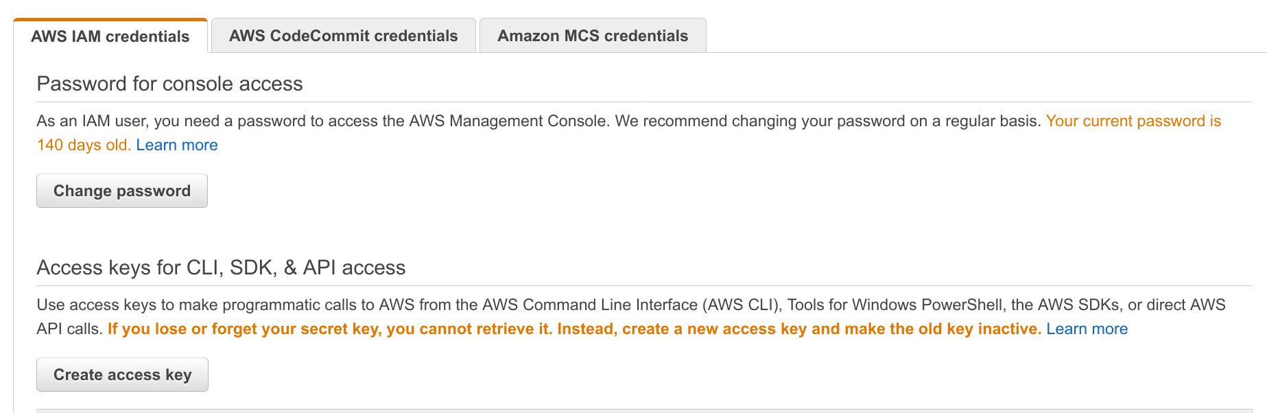 Screenshot of AWS management console IAM credentials tab
