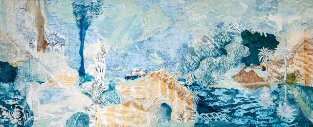 Goa Laut, acrylic marine-charts collage charcoal woodblock on canvas