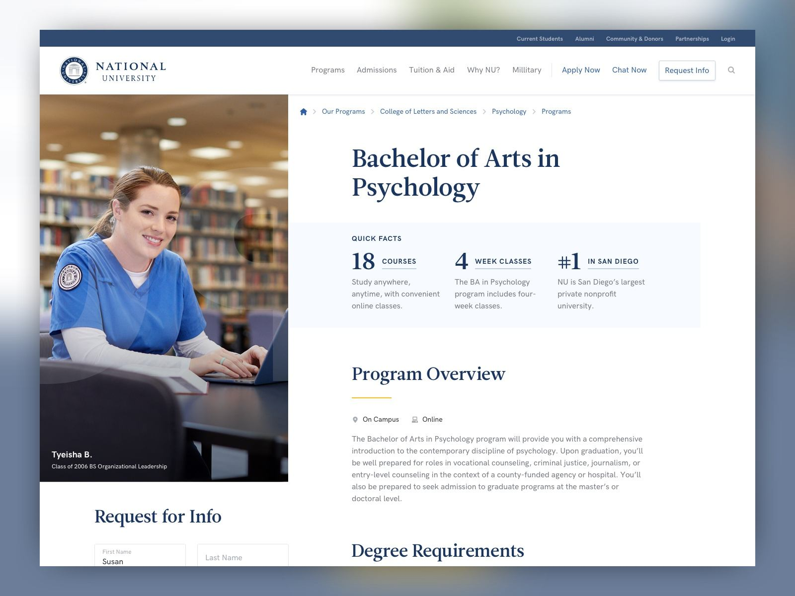 screenshot of a National University program page at desktop size