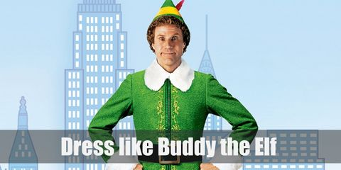 Buddy wears a bright green top, bright yellow tights, a cute Christmas hat, and an awesome pair of green elven shoes.