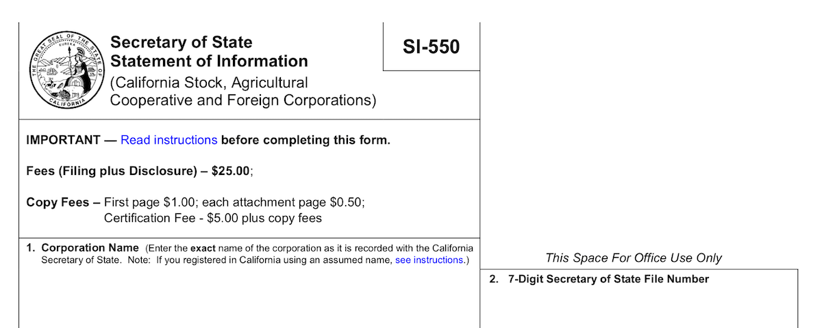 CA SI-550 Secretary of State form