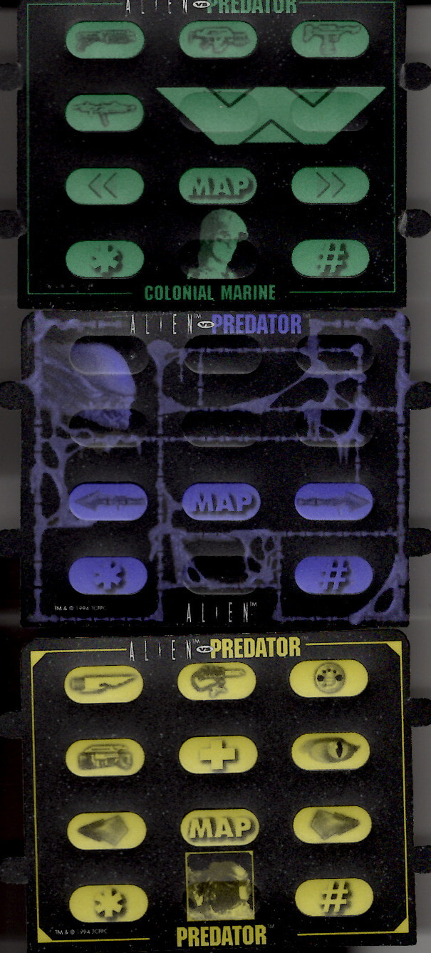 A scan of the Atari Jaguar controller overlays for Alien vs Predator. The player could use these overlays with their controllers to help them remember the controls for the game. Top to bottom: Colonial Marine (with buttons for switching between weapons), Alien, Predator (with buttons for switching between weapons and healing). All three overlays supported showing the map and staffing left and right