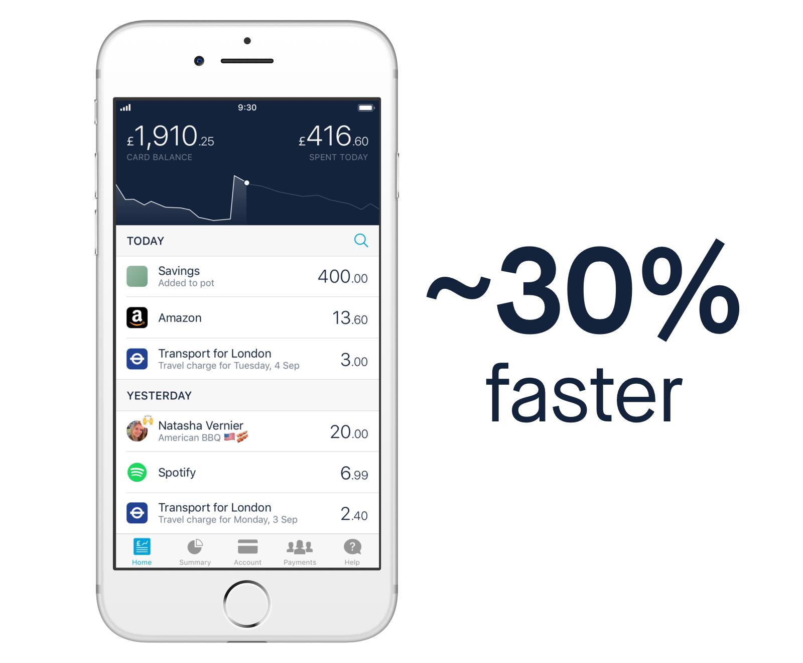 Screen showing Monzo iOS app launch
