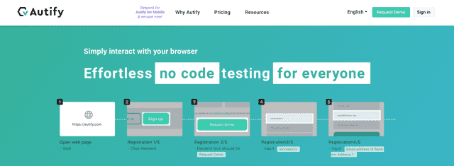 Autify's landing page