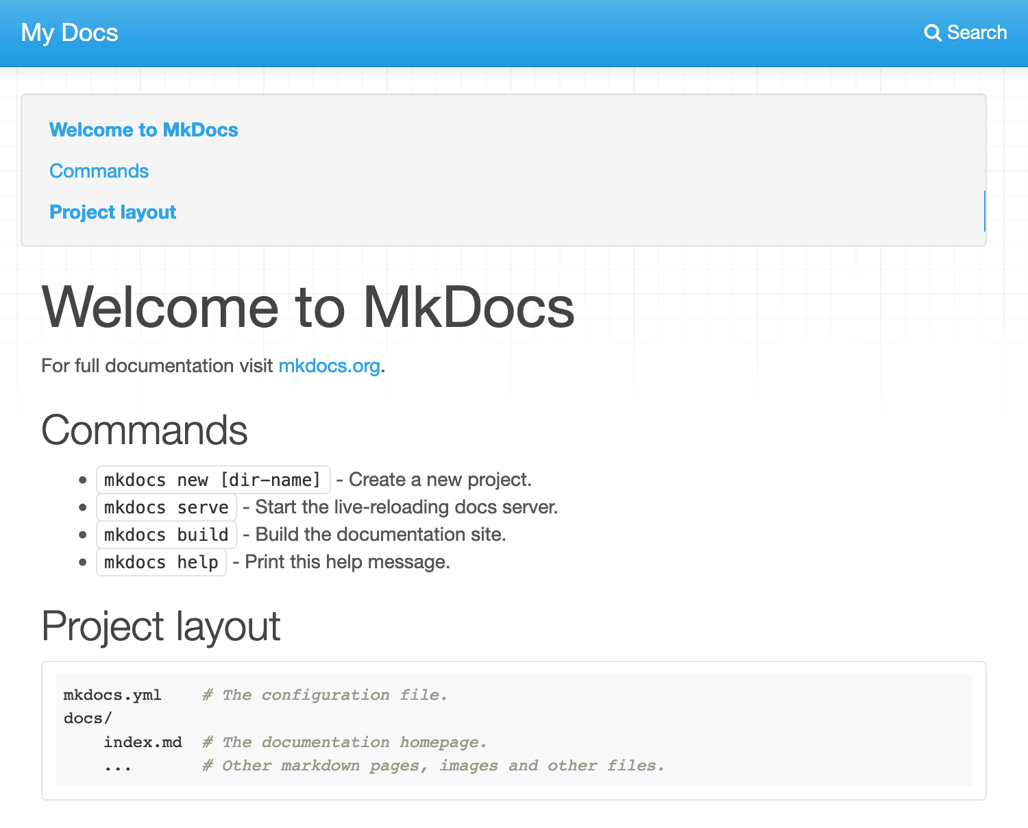 A newly deployed MkDocs site.