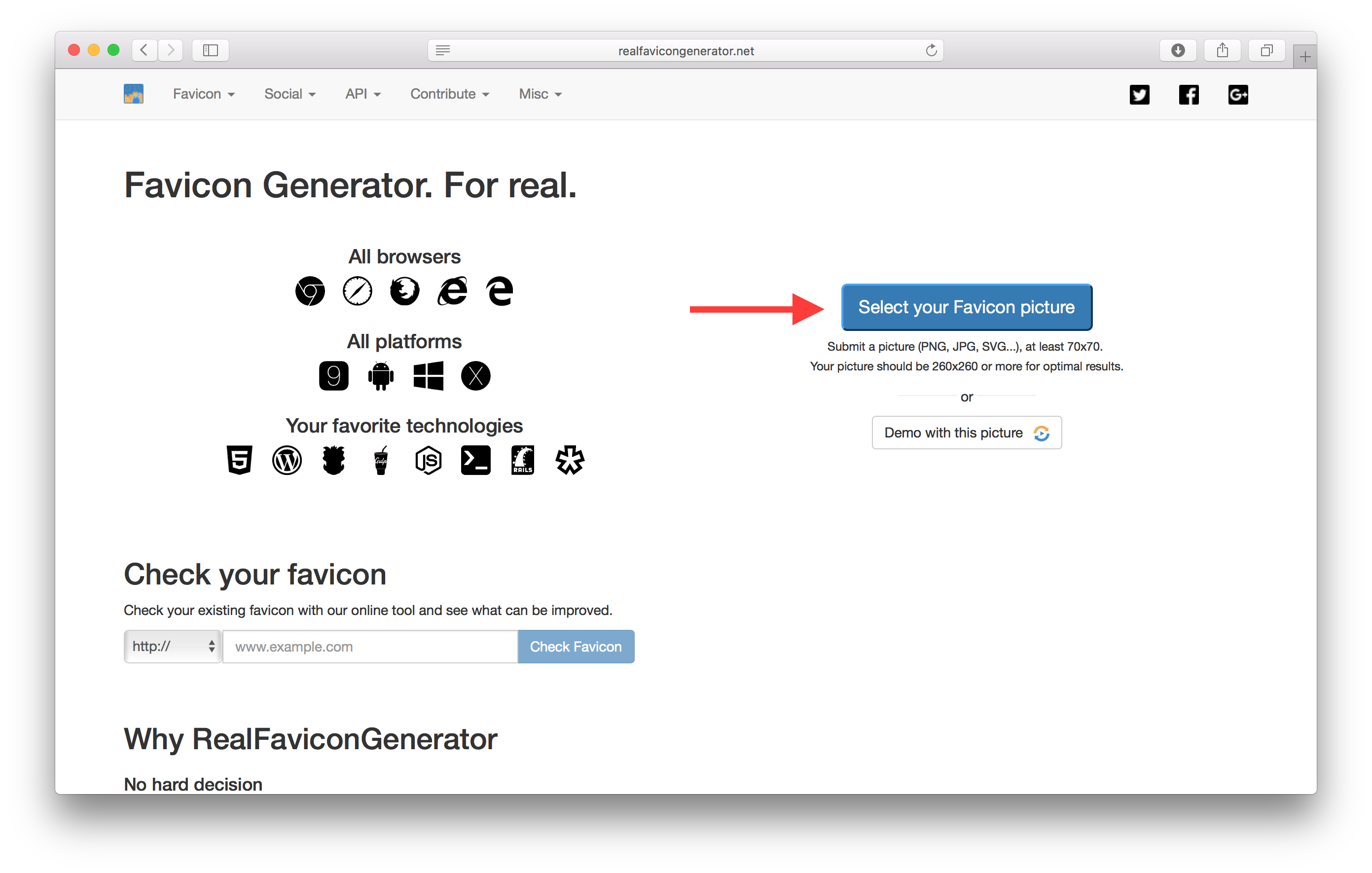 Realfavicongenerator.net screenshot