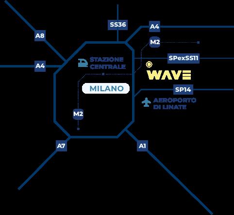 Mappa di Milano e dintorni e collocazione di WAVE a Vimodrone