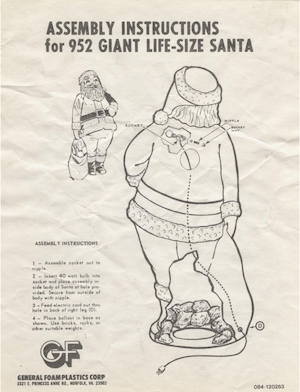 General Foam Plastics Giant Life-Size Santa #952 Instruction Manual.pdf preview