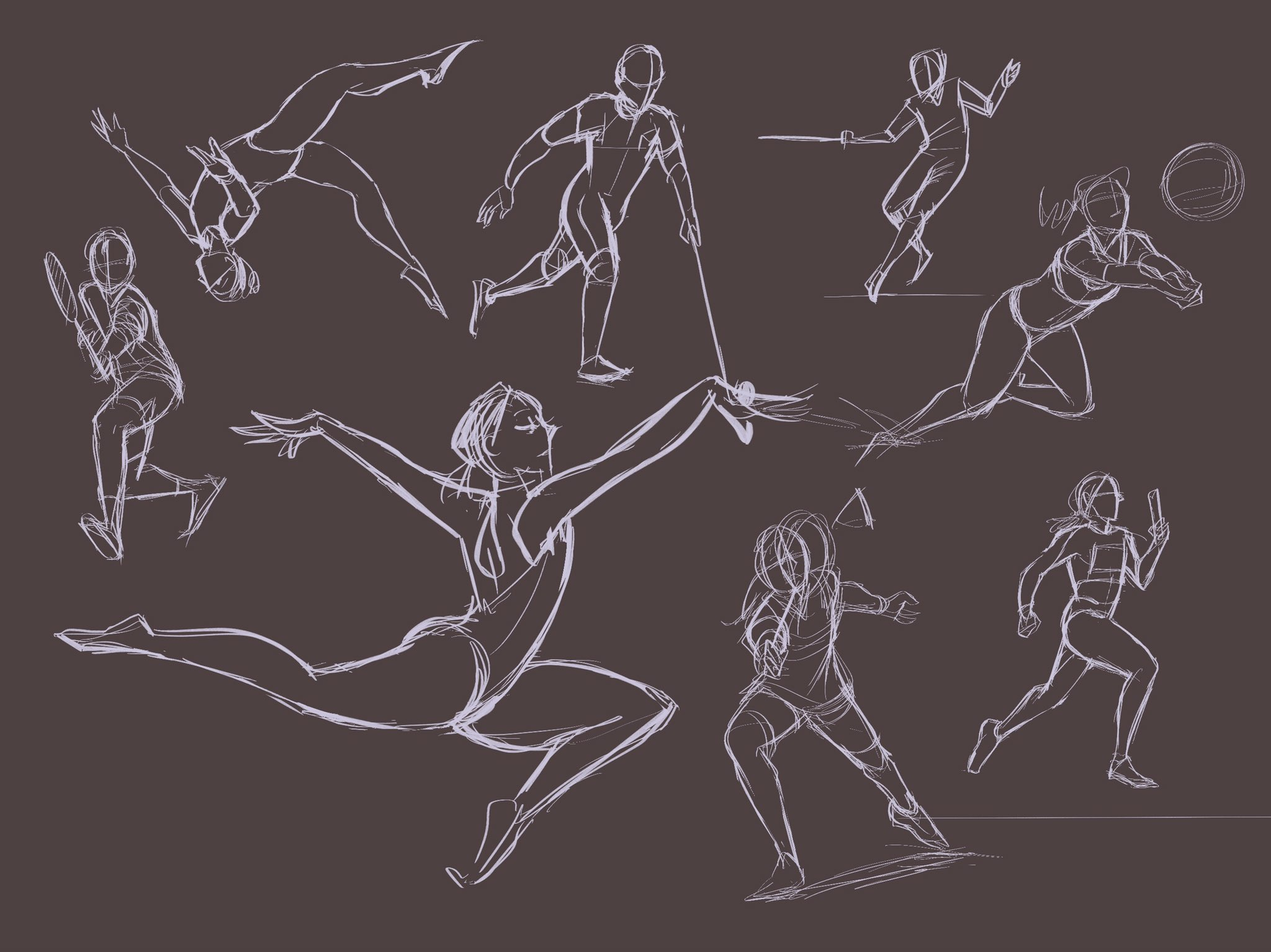 Various sketches of athletes in motion.