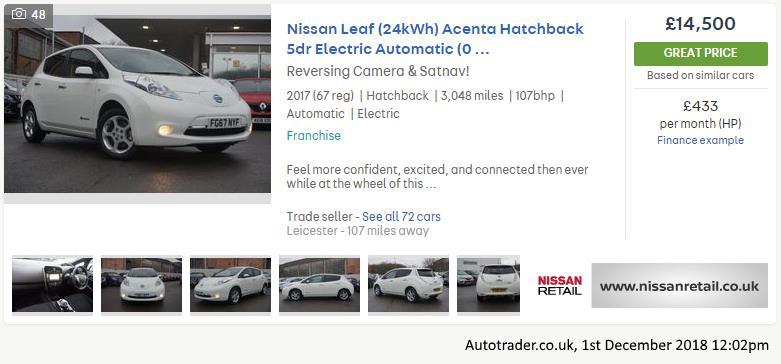 Used Nissan Leaf Acenta, from Autotrader.co.uk