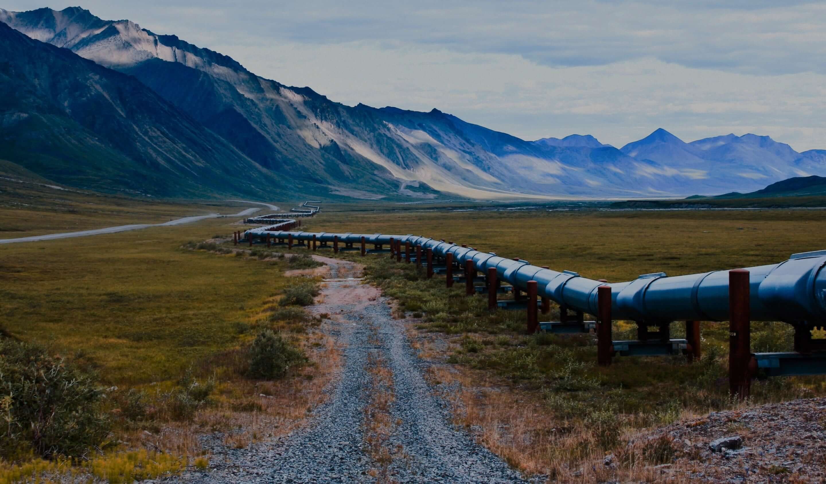 pipeline with mountains