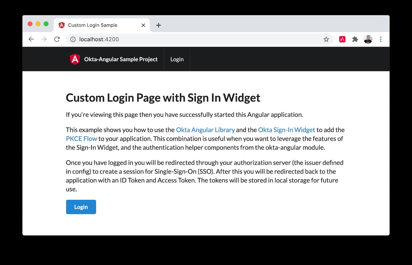 Angular sample homepage