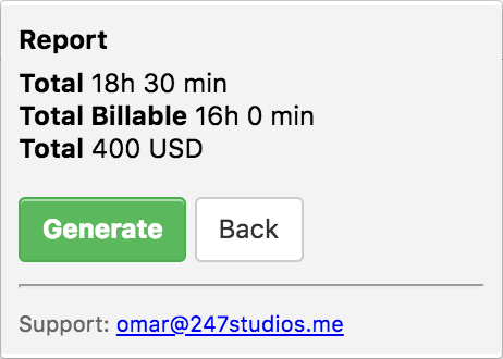 Screenshot of Toggl To Manager.io extension. Preview of the Manager Billable Time you are about to generate.