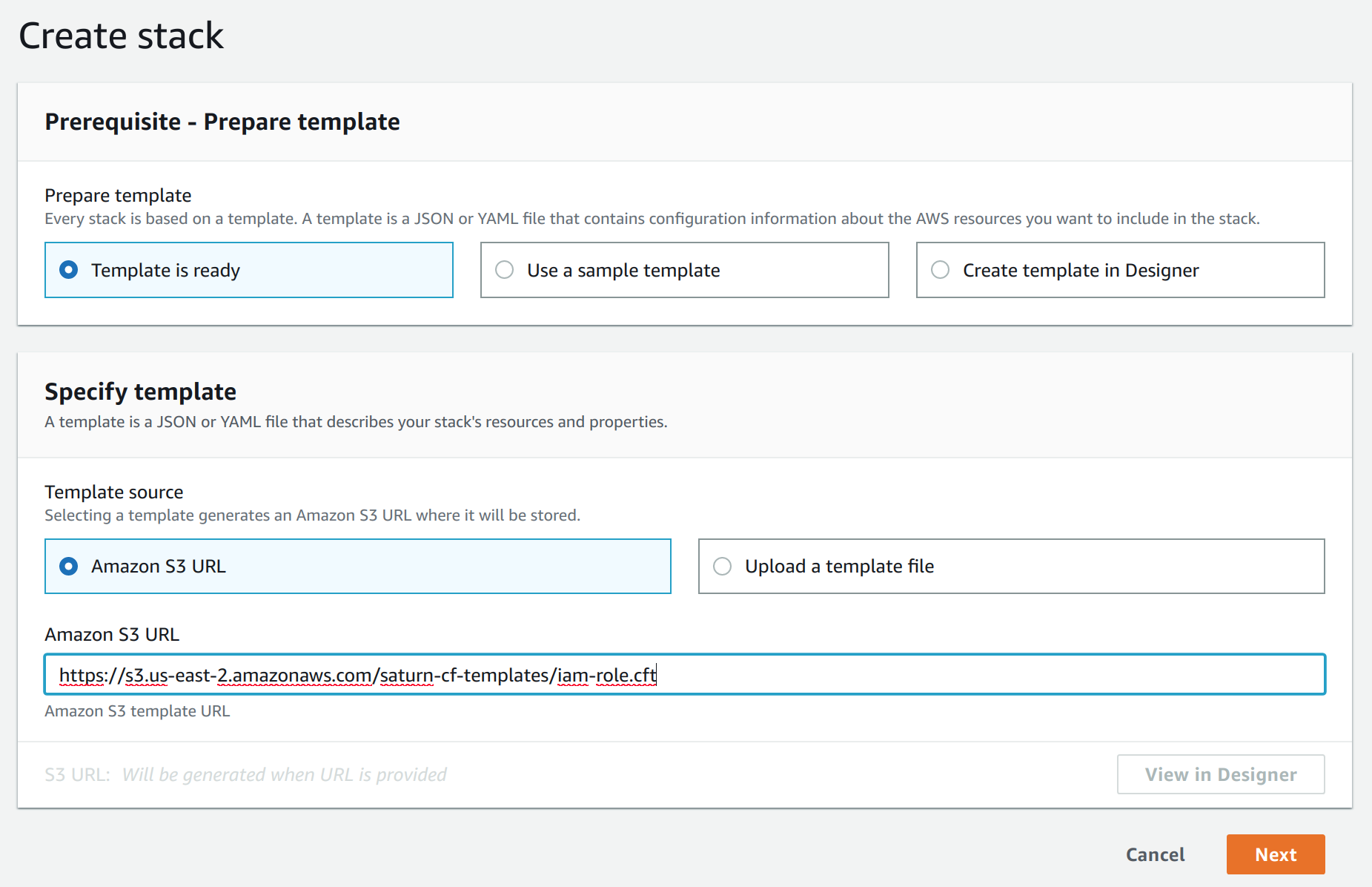 Screenshot of AWS Console showing Create Stack form