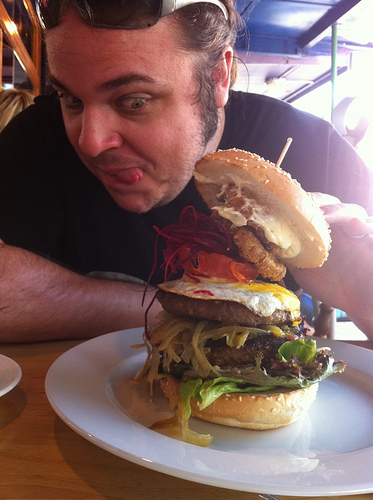 thomas with a huge burger