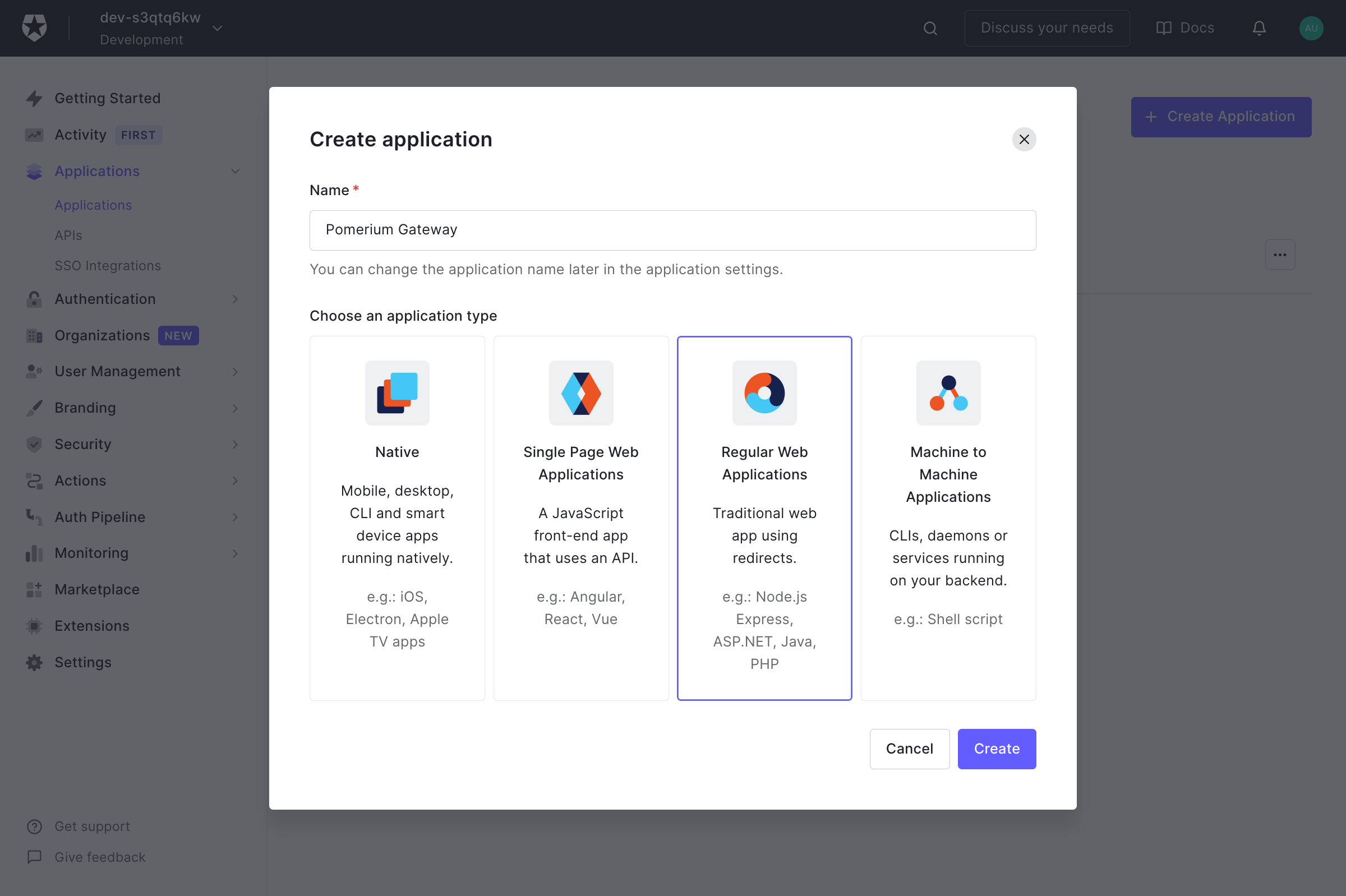 Auth0 Create Application Select Platform