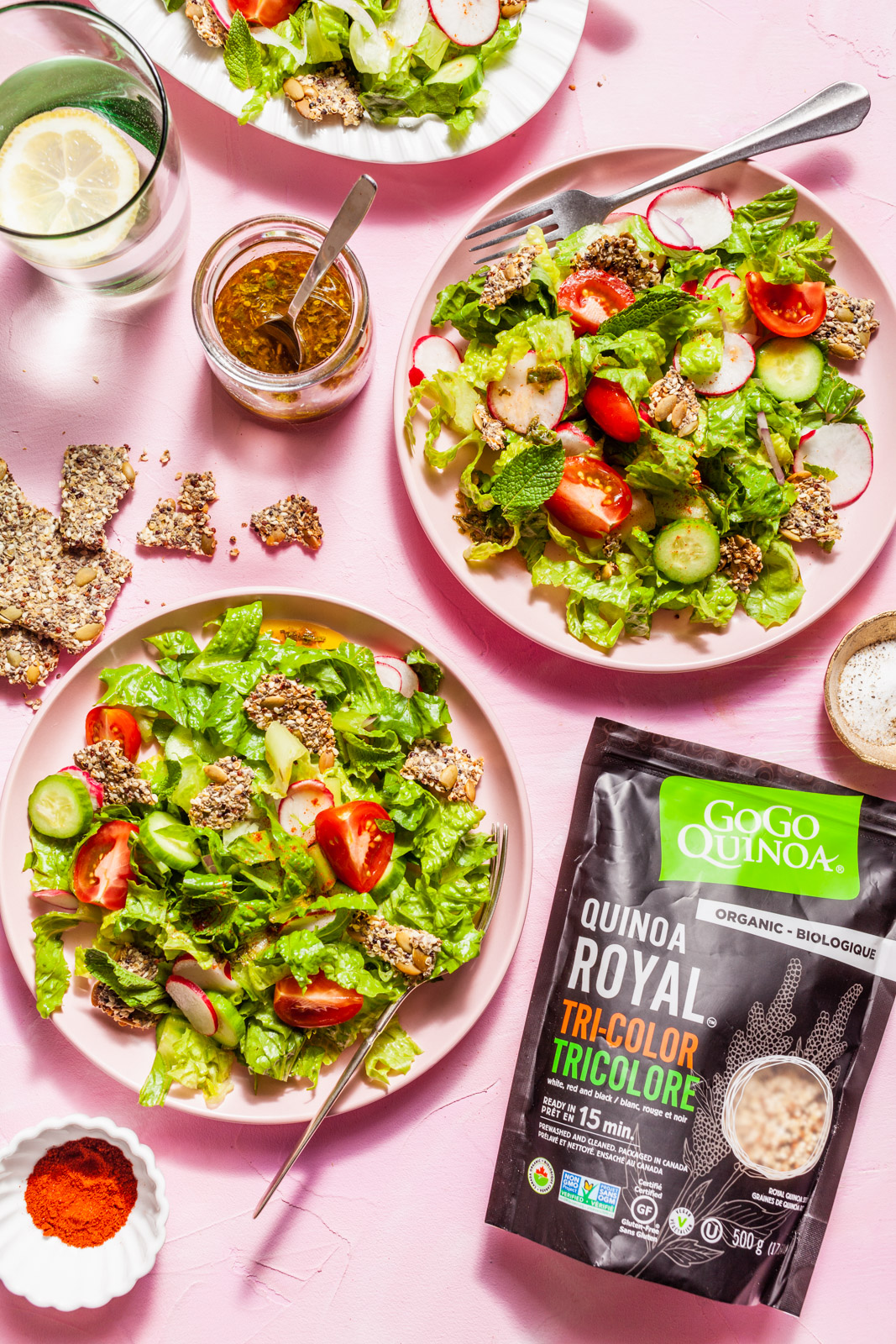 Fattoush With Quinoa Za'atar Crisps