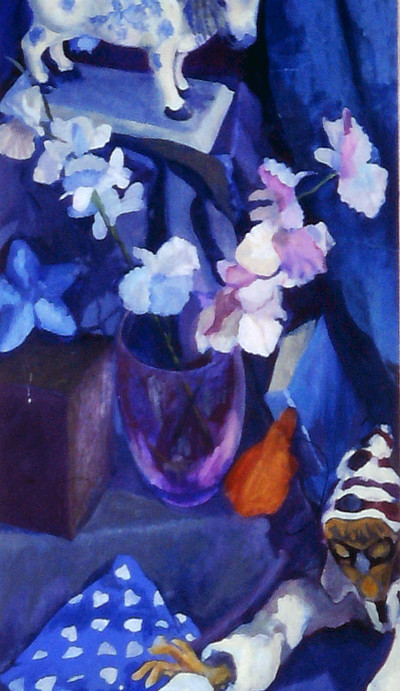 tall narrow painting in blue shades of still life including dolls and flowers