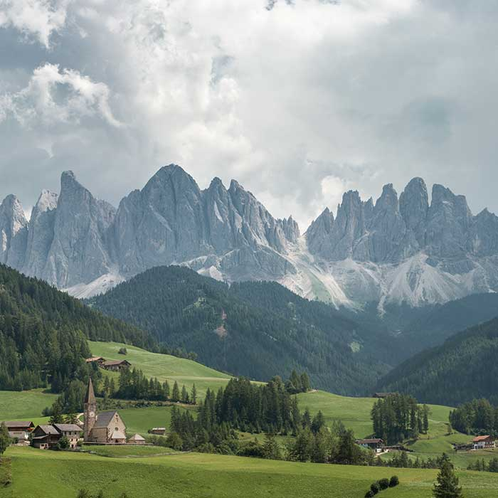 St. Maddalena in the Dolomites range, South Tyrol, Italy