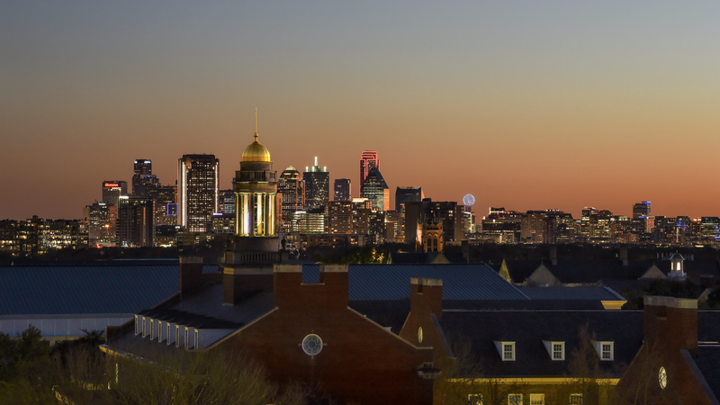 The Dallas, Texas skyline at sunset
